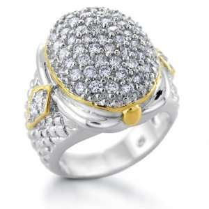 Jewelry Sterling Silver Gold Vermeil CZ Pave Weave Ring   6 Jewelry