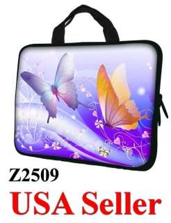 17 17.3 LAPTOP SLEEVE BAG CASE w HIDDEN HANDLE BUTTERFLY Z2509   USA