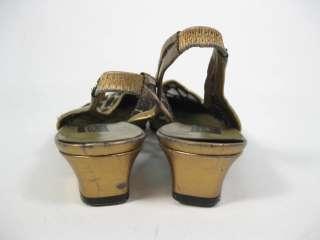 SESTO MEUCCI Gold Black Sheer Fabric Slingbacks Shoes 7