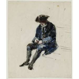 Oil Reproduction   David Cox   24 x 28 inches   Seated Naval Pensioner