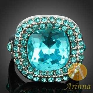 Misty Blue Swarovski Crystal ARINNA White Gold GP ring