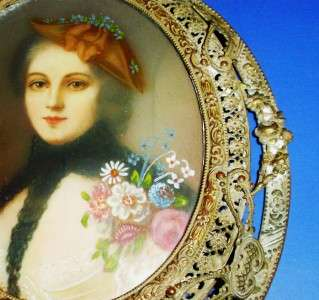 ANTIQUE MINTATURE CELLULOID GILT FRAMED PORTRAIT SIGNED SEGUIN