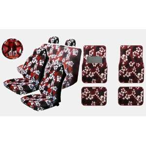 Seat Covers Combo with Front and Rear Carpeted Floor Mats Front