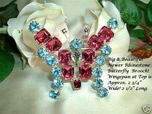 HUGE Blue Pink Rhinestone Butterfly Pin Brooch