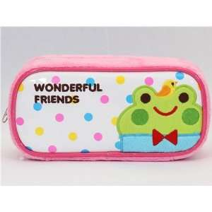 cute pink plush pencil case Wonderful Friends animals