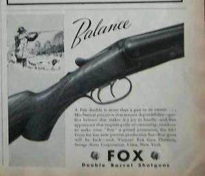 1943 Savage Arms Fox Double Barrel Shotgun Ad
