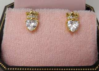 Auth Juicy Couture Clear (gold) Heart Crown Stud Earrings