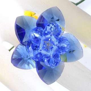 Sky Blue Facet Crystal Glass Flower Adjustable Ring#7.5