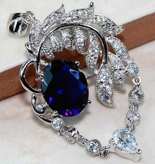 Sapphire & White Topaz 925 Solid Sterling Silver Pendant 1 3/4Long