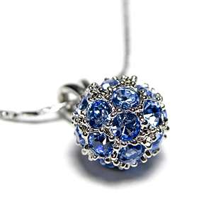 Swarovski Crystal ~SAPPHIRE BLUE BALL~ Pendant Necklace