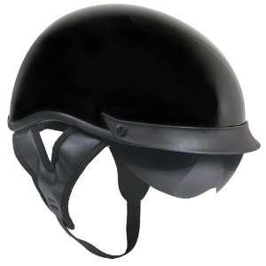 Outlaw T 72 Dual Visor Half Helmet   Black Glossy   Medium
