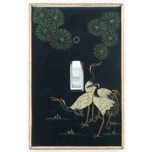 Dark Crane Hand painted Wood Switchplate: Home & Kitchen