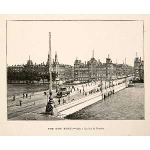 Print Copenhagen Denmark Towers Spire Dome Bridge Quay City Capital