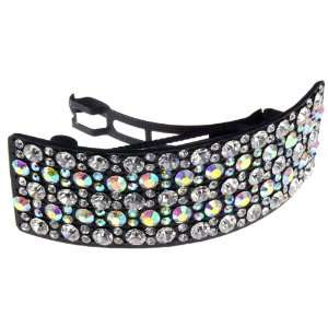 Large Black With Aurora Borealis Crystal 4 Hair Barette Clip Jewelry