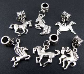 Wholesale 100x Tibetan Silver Mix Horse Dangle Charm Beads Fit