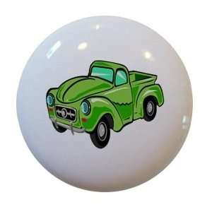 Green Hot Rod Truck Ceramic Cabinet Drawer Pull Knob