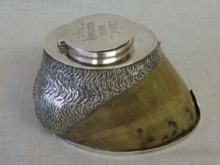ANTIQUE VICTORIAN SOLID SILVER HORSE HOOF INKWELL ROWENA 1891