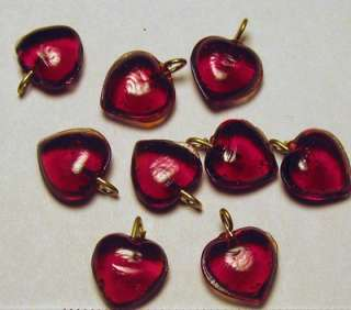 RUBY RED GLASS HEART BEADS CHARMS 10mm x10mm 4mm Loop ~Deep Rich Color