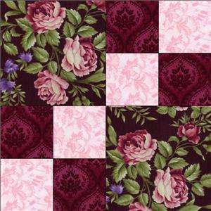 RJR Giselle Pink Mauve Black Shabby Rose Violet Floral Pre cut Quilt