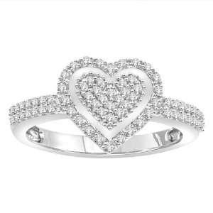 10k White Gold Diamond Heart Ring (1/3 cttw, H I Color, I2