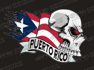 PUERTO RICO Skull Patriotic Decal Sticker Set of 4