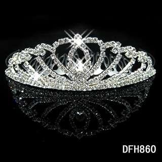 2011 Wedding Bridal crystal veil tiara crown comb 0860