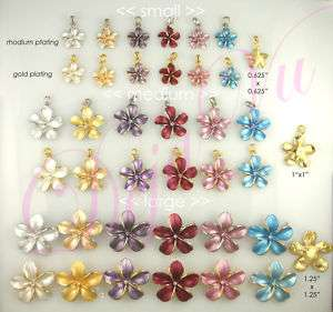 RHODIUM/GOLD PLATED CRYSTAL PLUMERIA FLOWER PENDANT MADE WITH