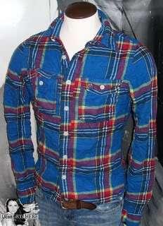 Mens Abercrombie DickersonNotch Blue Plaid Shirt M NWT.