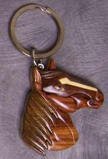 Intarsia Solid Wood Key Ring Animal Horse Head NEW