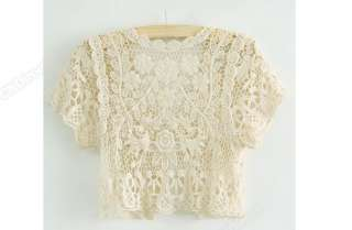 Womens Vintage Women See Through Crochet Lace Sexy Tank Cape Waistcoat