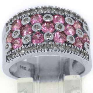 WOMENS PINK SAPPHIRE DIAMOND RING WEDDING BAND 3.38CT ROUND CUT 14KT