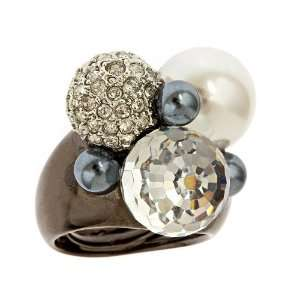 Kenneth Jay Lane   Gunmetal Multi Pearl and Crystal Ball Cocktail Ring
