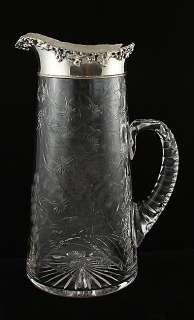 1890s Dominick & Haff Sterling Cut Glass Floral Pitcher