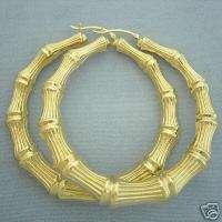 14K Gold Round Door Knocker Bamboo Earrings 2 7/8 GB36