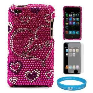 Pink Love Heart Rhinestone Design Protective Cover Case for Apple