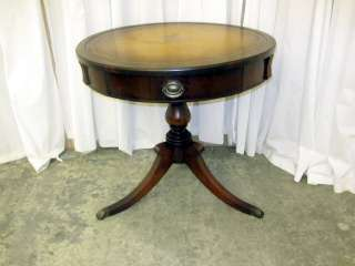 ... Antique Mahogany Round Side Table W Gold Leaf Embossed Leather Top ...