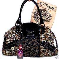 ED HARDY Quinlan Black Tattoo/Skull Bag/Satchel NWT NEW