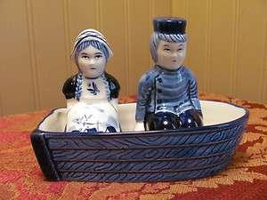 Set Salt & Pepper Shakers~Handpainted Delft Blue~Dutch Boy & Girl~Boat