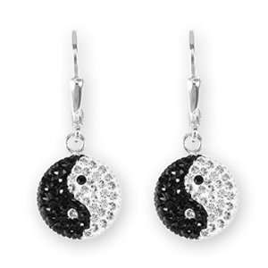 Ashley Arthur .925 Silver Black & White Yin Yang Earrings