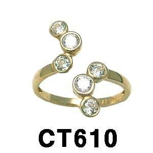 14k Fancy Cubic Zirconia Toe Ring (yellow gold) Jewelry