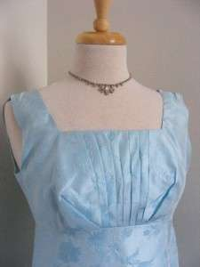 vtg 1960s Blue Satin ICE PRINCESS Party Maxi Dress & Coat Set XS/S