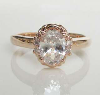 gold GP Princess swarovski crystal Engagement promise Ring 18K
