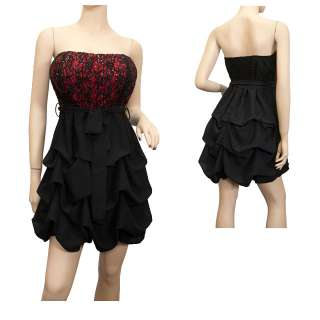 Plus Size Sequined Princess Ruffle Dress Black Red