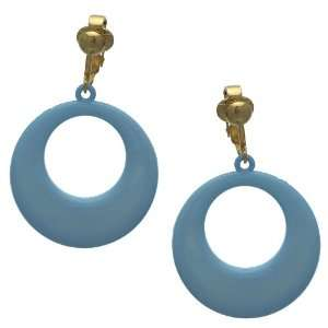 Dionyza Gold Baby Blue Clip On Earrings Jewelry