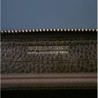 LARGE GENUINE BURBERRY CHOCOLATE BROWN LEATHER ZIP AROUND WALLET PURSE