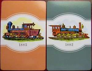 TRAIN STEAM ENGINE VINTAGE SWAP PLAYING CARDS SET of 2