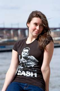 Johnny Cash Finger Flipping Black Juniors Graphic Tee Shirt