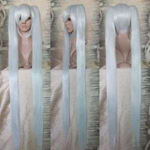 Womens Long Silvery white Ponytail Hair Cosplay Party Wig
