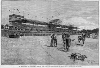 HORSE RACING JOCKEY CLUB GRAND STAND RACE TRACK ANTIQUE
