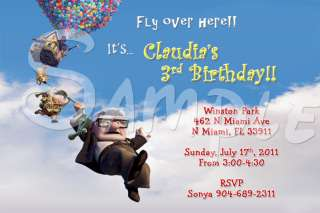 Movie Up Disney Custom Birthday Party Invitation w/enve